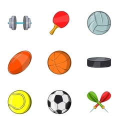Accessories for training icons set cartoon style vector
