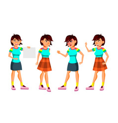 Asian teen girl poses set activity vector