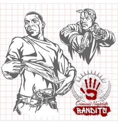 Bandits and hooligans - criminal nightlife vector