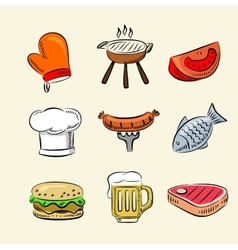 barbecue icon set vector image