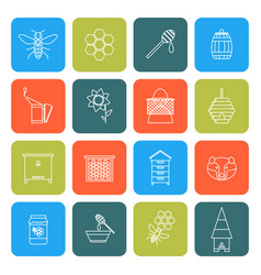 beekeeping thin line icons set vector image