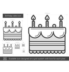 Birthday cake line icon vector