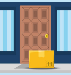 Box package service in the door of your home vector