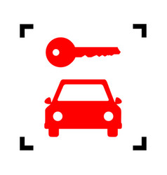 car key simplistic sign red icon inside vector image