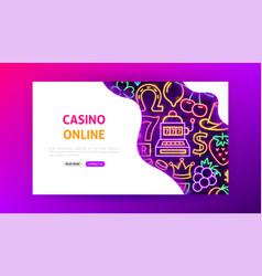casino online neon landing page vector image