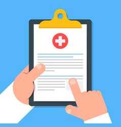 Clipboard in hand doctor doctor consider notes in vector