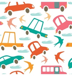 Colorful seamless pattern with cars and swallows vector