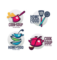 Cook soup and home food collection bowl full vector