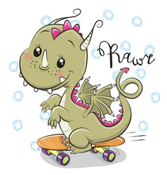 Cute dragon with skateboard on a white background vector