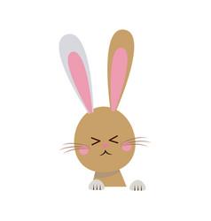 Cute easter bunny happy adorable vector