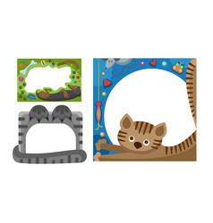Cute happy birthday border cat photo frame vector