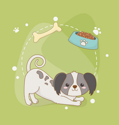 cute little dog mascot with dish and bone vector image