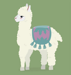 cute white fluffy alpaca on a green background vector image