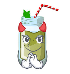 Devil juice green smoothie on character cup vector