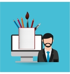 Eduation online concept teacher school background vector
