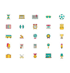 Education icon set flat vector