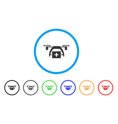 first aid drone rounded icon vector image