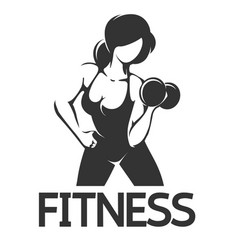 fitness emblem wth woman at workout vector image