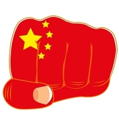 Flag of the china on fist vector image