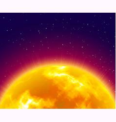 Flaming sunrise close-up night background vector