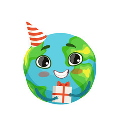 funny earth planet character in party hat holding vector image