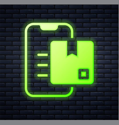 Glowing neon document tracking marker system icon vector