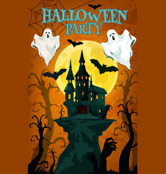 Halloween party banner with horror house and ghost vector