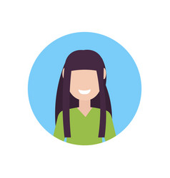 Happy brunette girl face avatar little child vector
