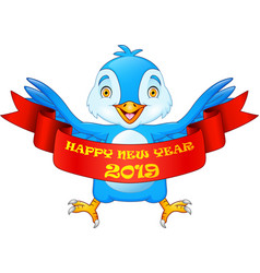 happy new year 2019 greeting card with blue bird c vector image