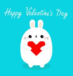 happy valentines day white barabbit hare puppy vector image