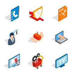 Hardware address icons set isometric style vector