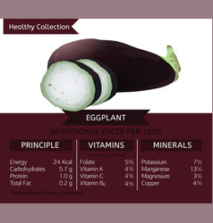 Healthy collection eggplant vector