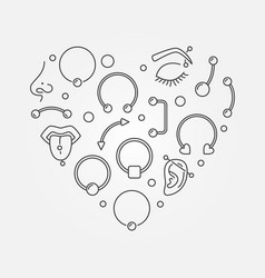 Heart shape made of body jewelry and piercing thin vector