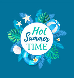 hot summertime banner party placard ball vector image