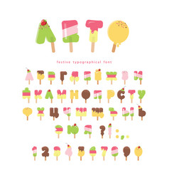 ice cream cyrillic font popsicle cartoon letters vector image