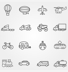 icons different types transport with lines vector image