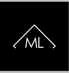 initial letter ml isolated logo black template vector image