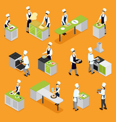 isometric people cooking set vector image