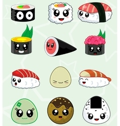 Japanese sushi food icons set vector image