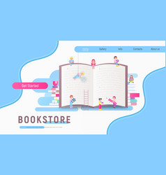 Landing page for bookstore vector