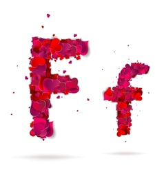 Letter f made from hearts Love alphabet vector