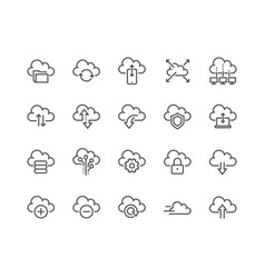 Line computer cloud icons vector