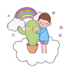 little boy with cactus kawaii character vector image
