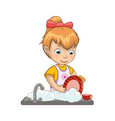 Little girl washing dishes vector