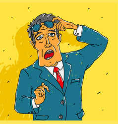 man in a suit surprised vector image