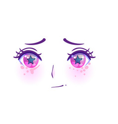 Manga face colorful eyes in anime style vector