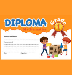 Mathematics diploma mathematics template vector