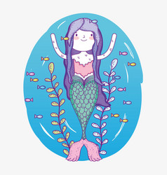 mermaid woman underwater with plants and fishes vector image