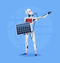 Modern robot charging battery from solar panel vector