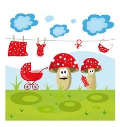 mushroom family vector image